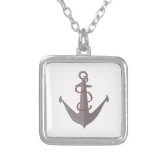 Anchor with Rope Square Pendant Necklace