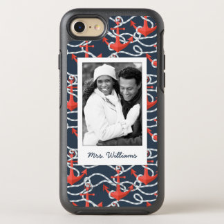 Anchors And Rope Pattern | Your Photo & Name OtterBox Symmetry iPhone 8/7 Case