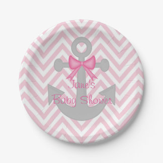 Anchors Away Girl Baby Shower Paper Plates 7 Inch Paper Plate