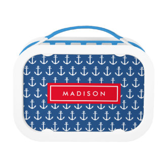 Anchors Away in Red | Personalized Lunch Box