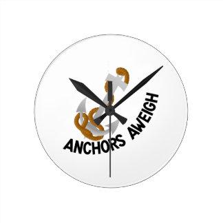 Anchors Aweigh Round Clock