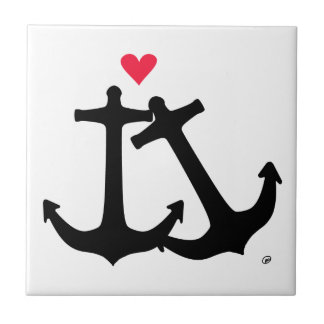 Anchors In Love Small Square Tile