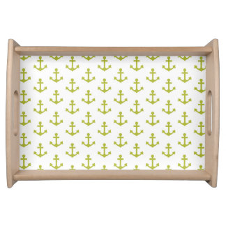 Anchors Pattern Nautical Chartreuse White Sailor Serving Tray