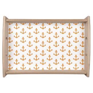 Anchors Pattern Nautical Orange White Sail Service Trays