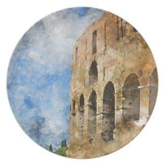 Ancient Colosseum in Rome Italy Plate