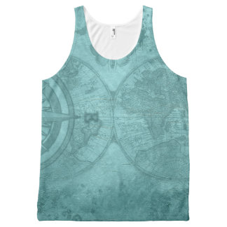 Ancient Compass World Map All-Over Print Singlet