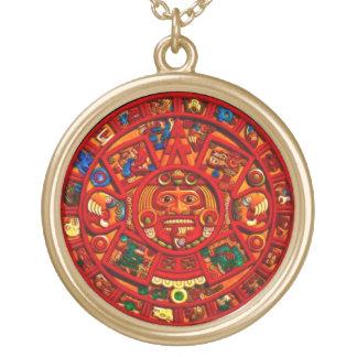 Ancient Cultures Mayan Sun Calendar Art Pendant