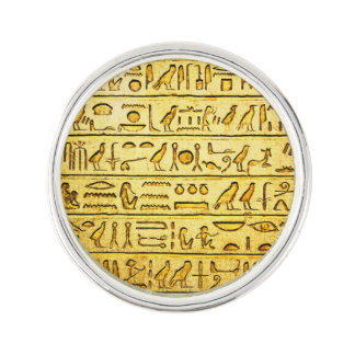 Ancient Egyptian Hieroglyphs Yellow Lapel Pin