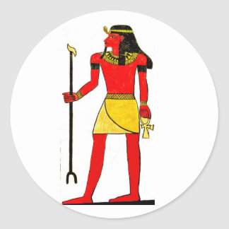 Ancient Egyptian Illustration with Key of Life Round Sticker