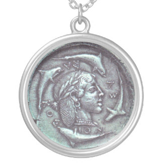 Ancient Greek coin with portrait dolphins necklace
