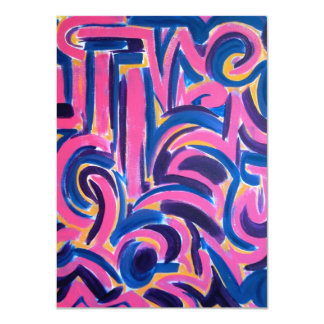 Ancient Greek Graffiti - Abstract Art Handpainted 11 Cm X 16 Cm Invitation Card