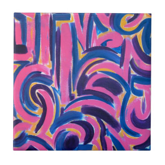 Ancient Greek Graffiti - Abstract Art Handpainted Small Square Tile