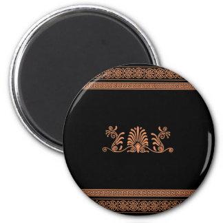 Ancient Greek Style Black and Orange Floral Design Magnet