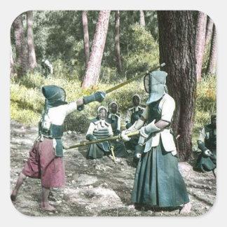 Ancient Japanese Kendo Martial Art Vintage Japan Square Sticker