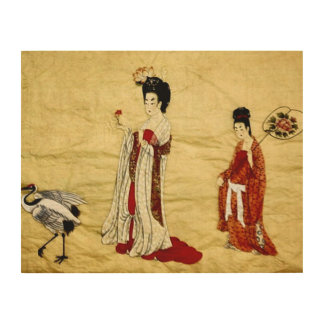 Ancient Japanese Maidens Collage Wood Print