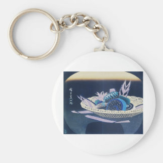 Ancient Painting of a Bowl of Sushi circa 1800's Key Chains