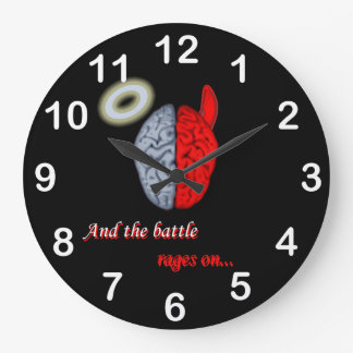 And the Battle Rages On (Good vs Evil) Round Wall Clocks