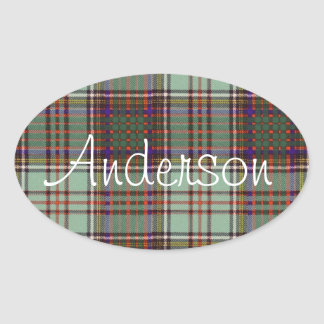 Anderson clan Plaid Scottish tartan Oval Sticker