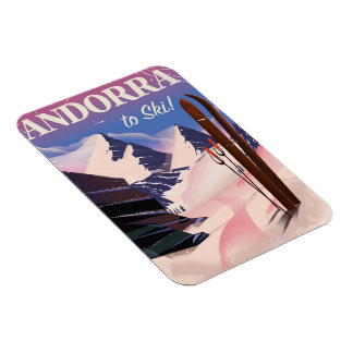 Andorra vintage Ski poster Magnet
