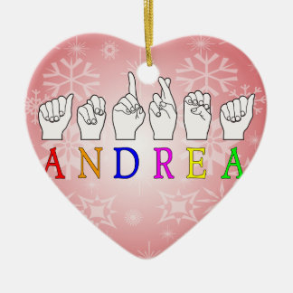 ANDREA FINGERSPELLED ASL NAME SIGN CHRISTMAS ORNAMENT