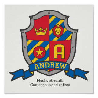 Andrew boys name meaning heraldry shield poster