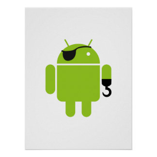 Android Robot Icon as a Pirate Poster