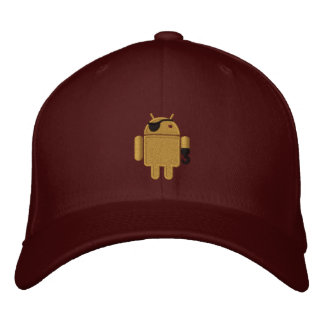 Android Robot Pirate Embroidery Embroidered Hats