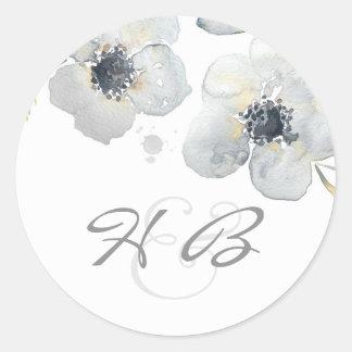Anemone Floral Watercolor Vintage Wedding Round Sticker