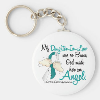 Angel 2 Cervical Cancer Daughter-In-Law Basic Round Button Key Ring