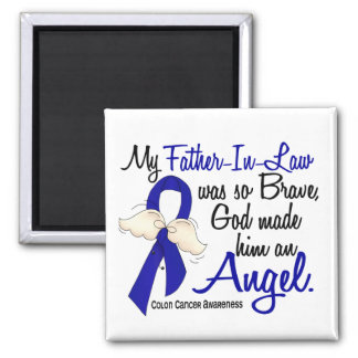 Angel 2 Father-In-Law Colon Cancer Square Magnet