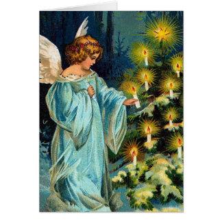 """Angel and Christmas Tree"" Vintage Card"