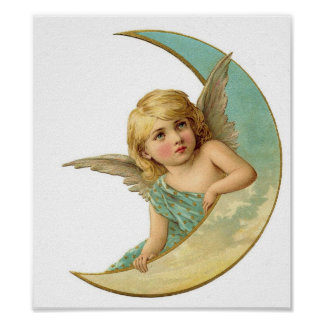 Angel and Moon Christmas Vintage Poster