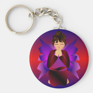 Angel Baby I Basic Round Button Key Ring