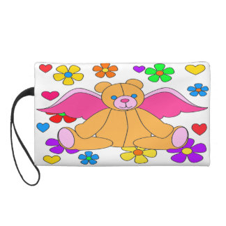 Angel Bear And Flowers Wristlet Clutches