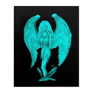Angel , Black and Green design Acrylic Wall Art