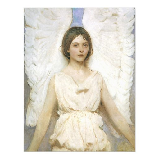 Angel by Abbott Thayer, Vintage Victorian Fine Art Custom Announcement