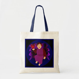 Angel Of Hearts In Natural And Blue I Budget Tote Bag