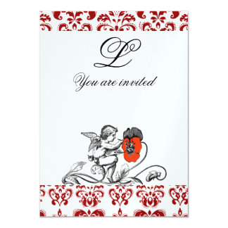 ANGEL PAINTING A RED FLOWER DAMASK MONOGRAM ice Personalized Invite
