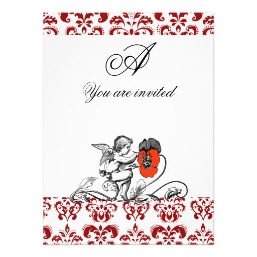 ANGEL PAINTING A RED FLOWER DAMASK MONOGRAM ANNOUNCEMENTS