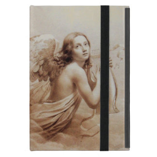 ANGEL PLAYING LYRA OVER THE CLOUDS ,GEM MONOGRAM CASE FOR iPad MINI