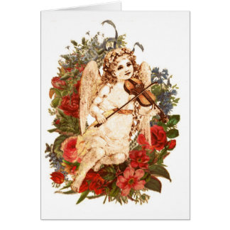 Angel playing violin with floral background card
