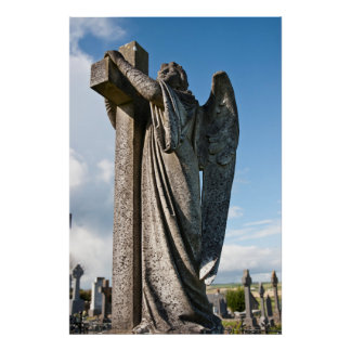 Angel statue embracing a cross and celtic graveyar poster