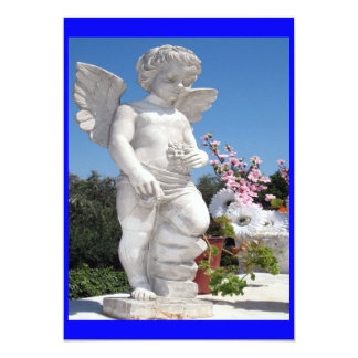 "Angel Statue In Blue 5"" X 7"" Invitation Card"