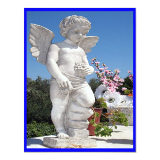 Angel Statue In Blue III 4.25x5.5 Paper Invitation Card