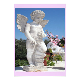 Angel Statue In Pink And Grey 5x7 Paper Invitation Card