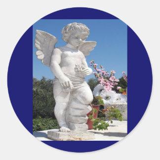 Angel Statue Round Sticker