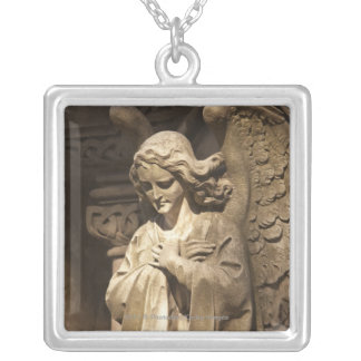 Angel Statue with Crossed Hands, Buenos Aires Silver Plated Necklace