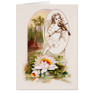 Angel Violinist with Scenic Background Card