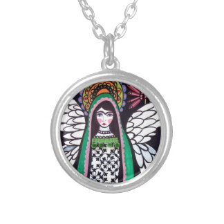 Angel Virgin of Guadalupe Art by Heather Galler Silver Plated Necklace
