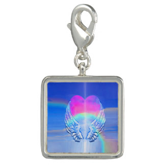 Angel Wings Wrapped Around a Rainbow Heart